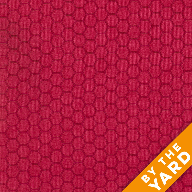 Andover - The Color Collection by Modern Quilt Studio - Red Hexagon - 7488-R - By the Yard