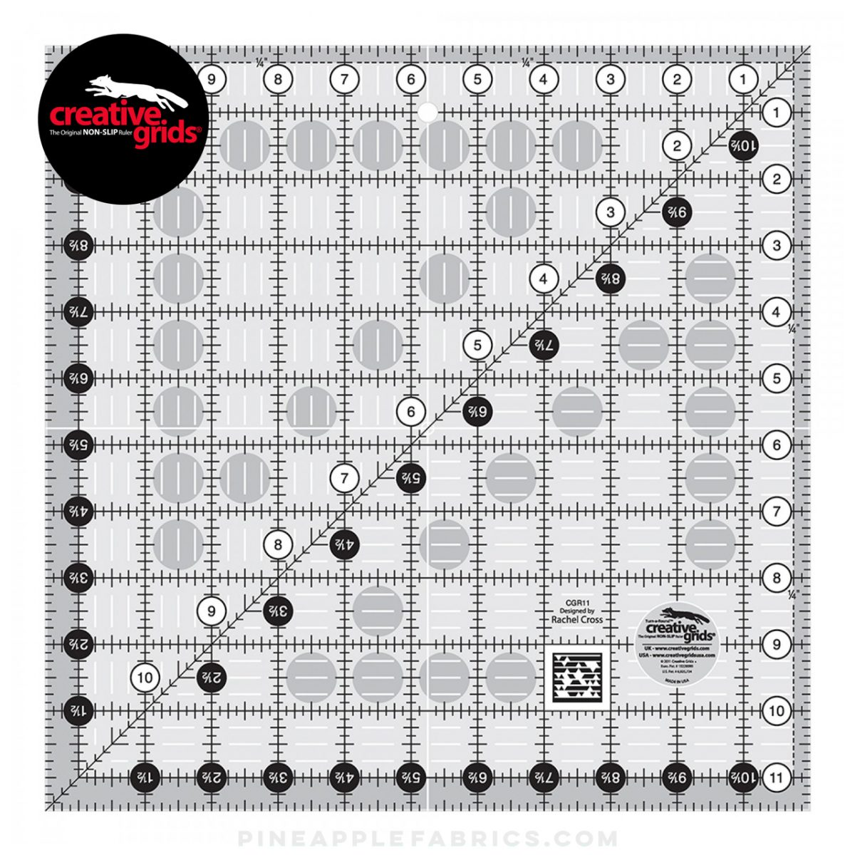 CGR11 - Creative Grids Quilt Ruler 11-1/2in x 11-1/2in