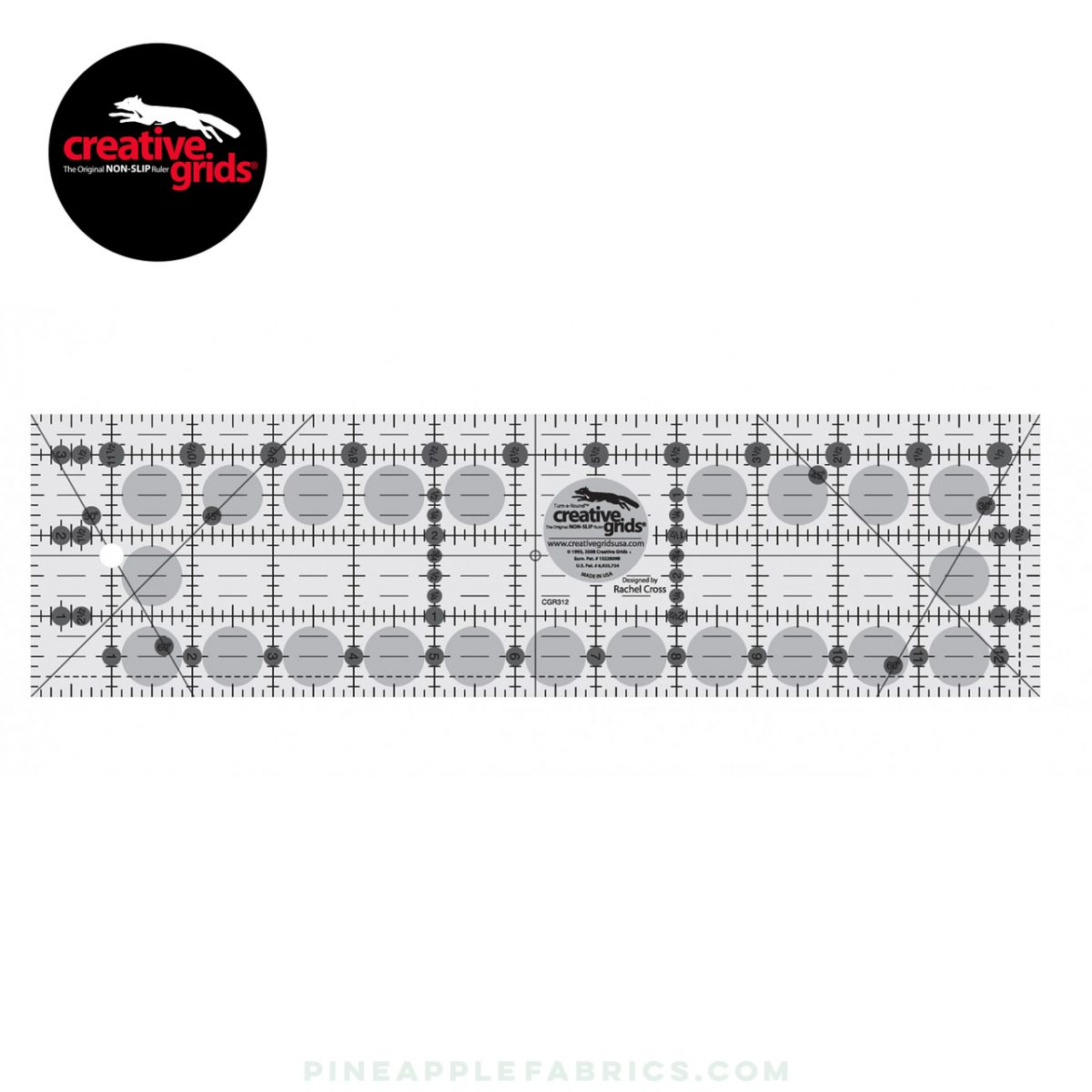 CGR312 - Creative Grids Quilt Ruler 3-1/2in x 12-1/2in