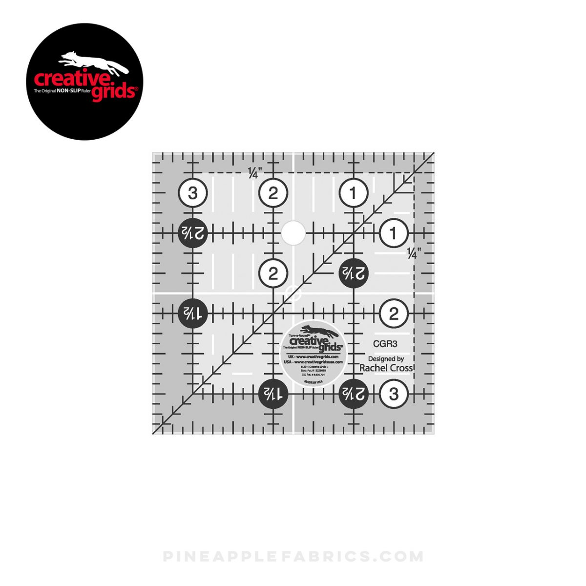 CGR3 - Creative Grids Quilt Ruler 3-1/2in Square