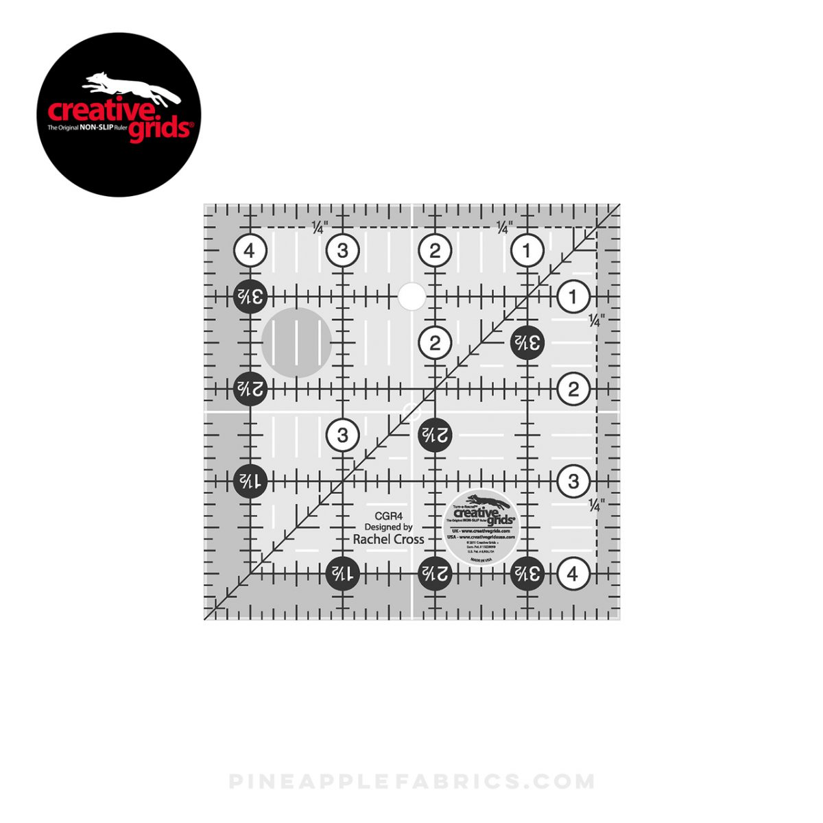 CGR4 - Creative Grids Quilt Ruler 4-1/2in Square