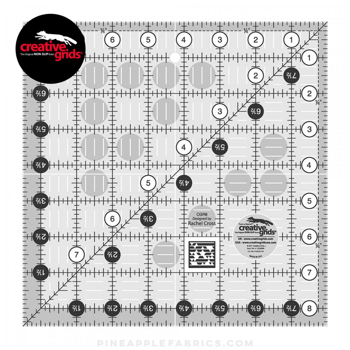 CGR8 - Creative Grids Quilt Ruler 8-1/2in Square