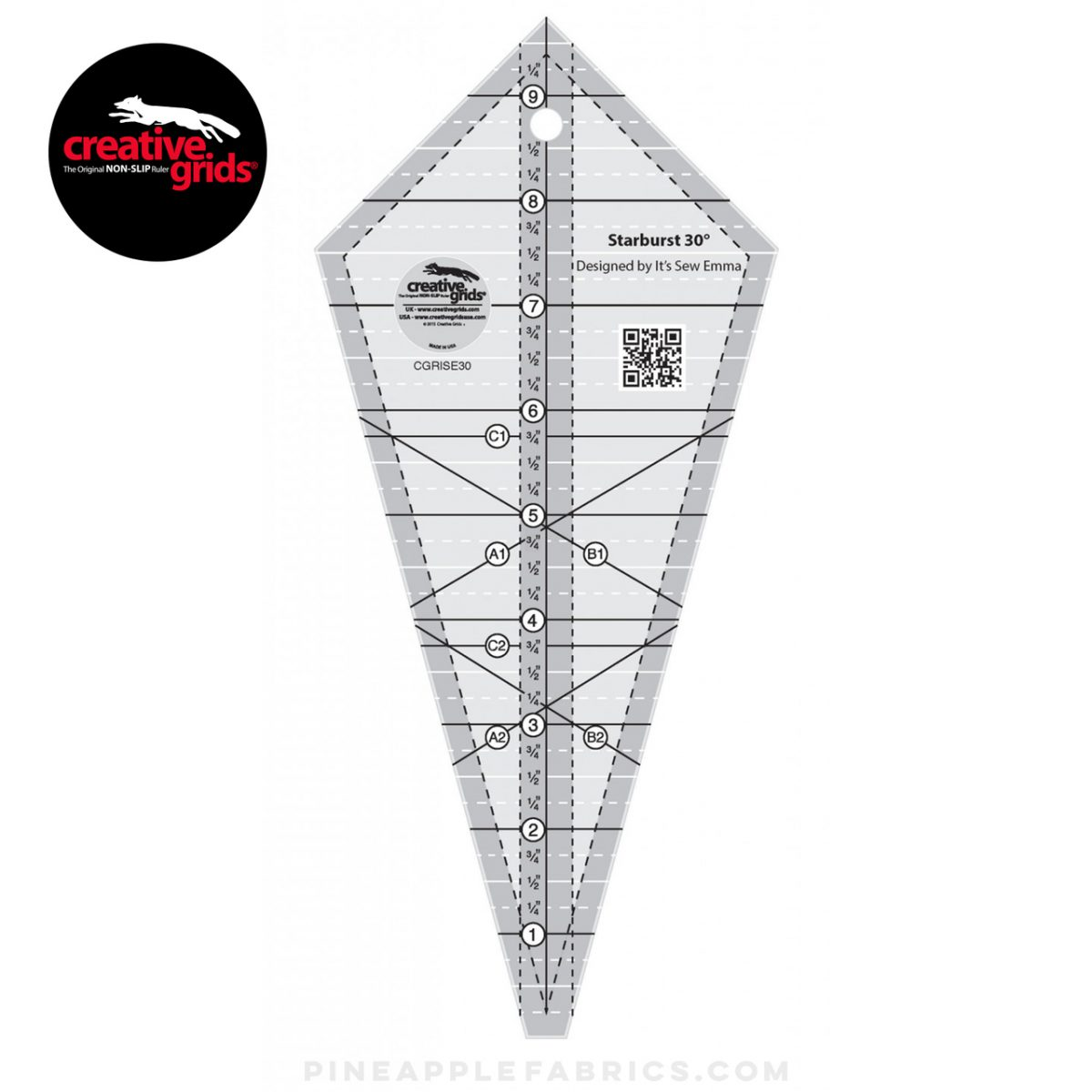 CGRISE30 - Creative Grids Starburst 30 Degree Triangle Ruler