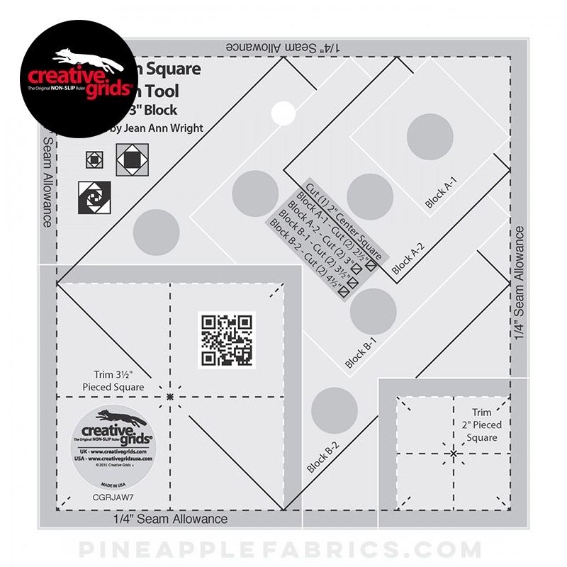 CGRJAW7 - Creative Grids Square on Square Trim Tool - 3in or 6in Finished Quilt Ruler