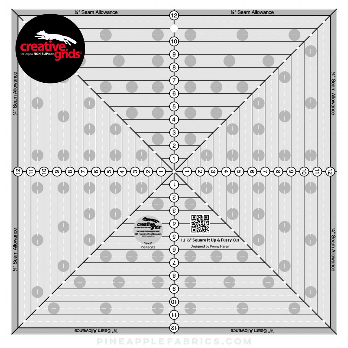 CGRSQ12 - Creative Grids 12-1/2in Square It Up or Fussy Cut Square