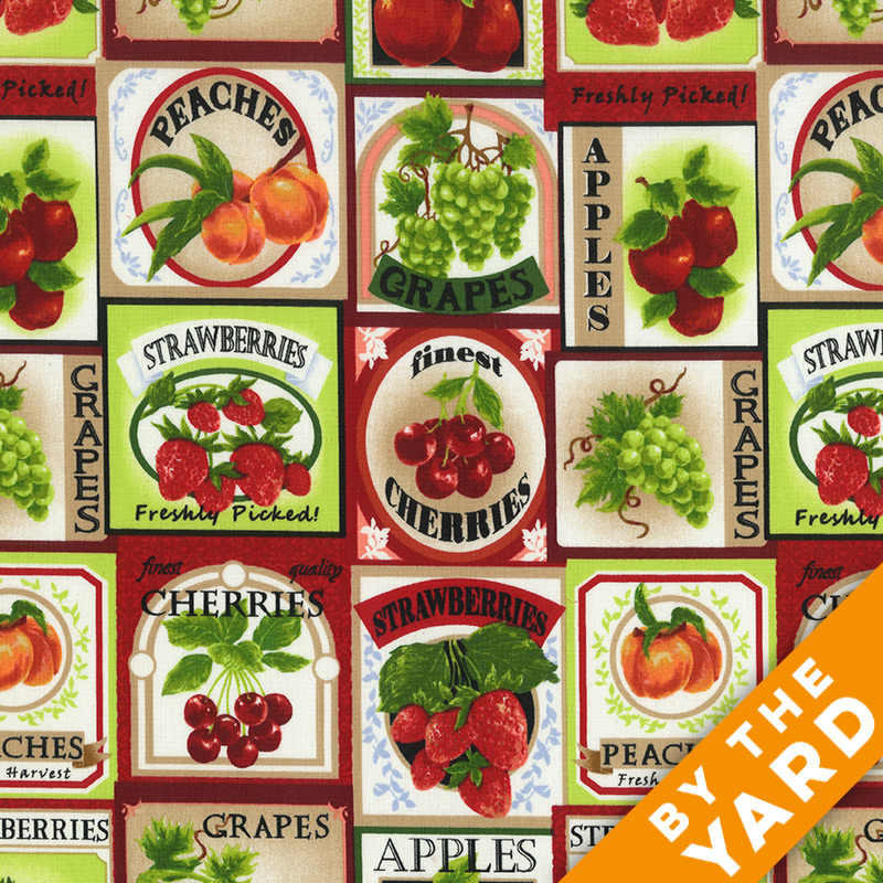 Fabri-Quilt - Fresh Harvest Labels - 112-28681 - Fabric by the Yard