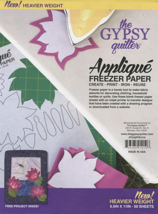 TGQFP811H - Gypsy Quilter Applique Freezer Paper 8 1/2in x 11in Heavy Weight