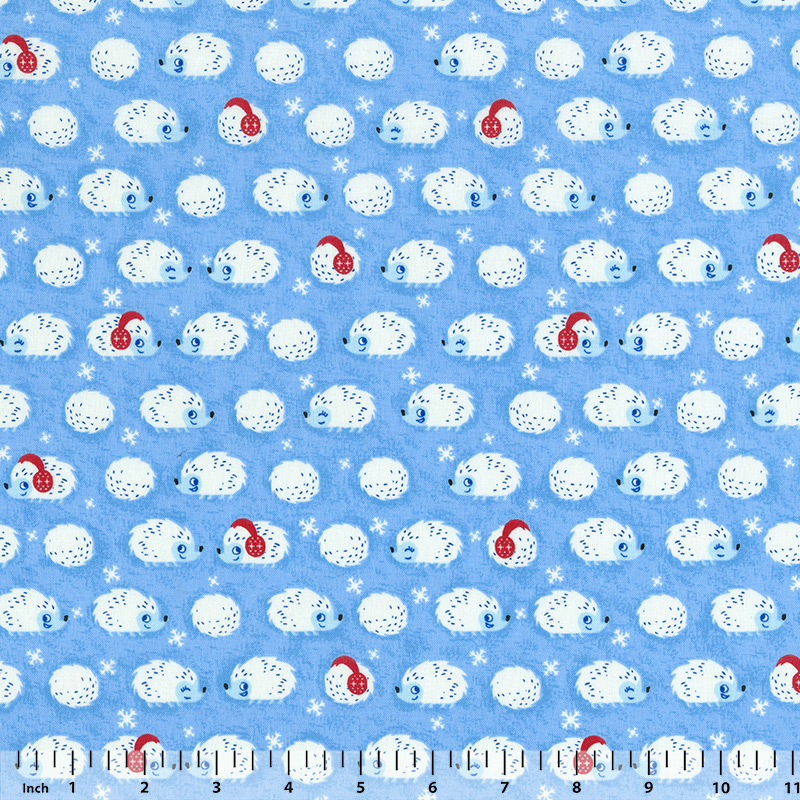 Timeless Treasures - Winter Hedgehogs - C4544 - Blue - Fabric By the Yard