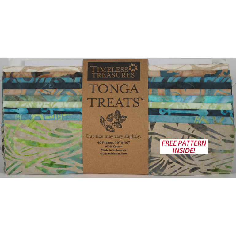 "Timeless Treasures - Tonga Treats Batik 10"" Square Pack - Oceana"