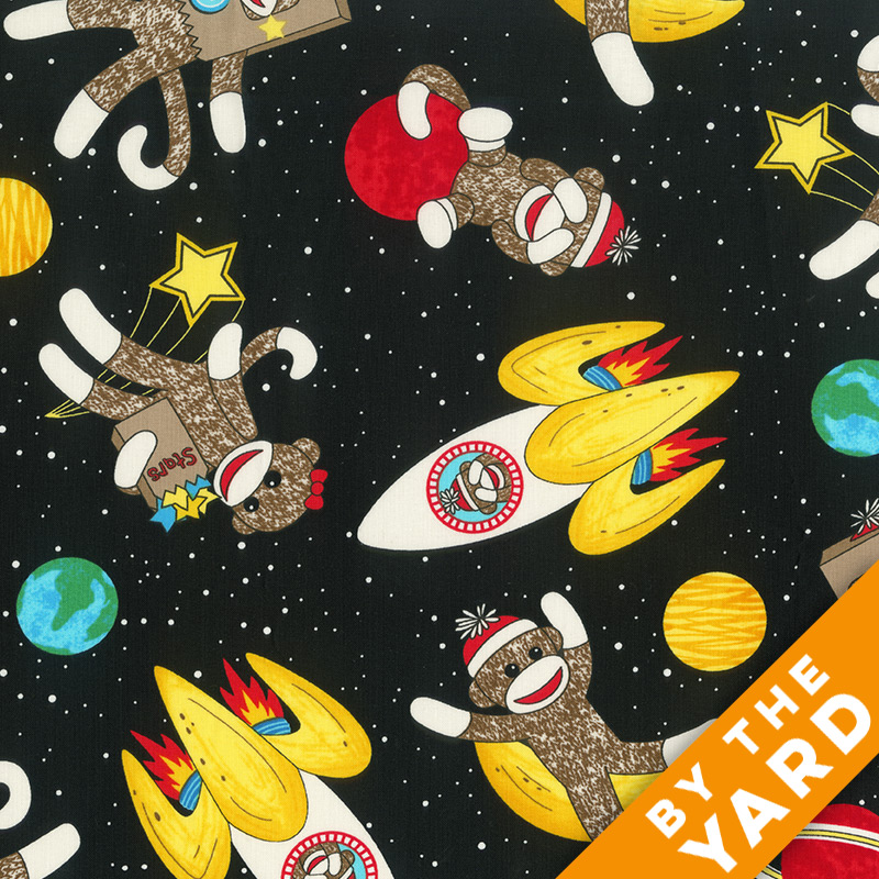 Windham - Sock Monkey In Space - 41169 - Fabric by the Yard