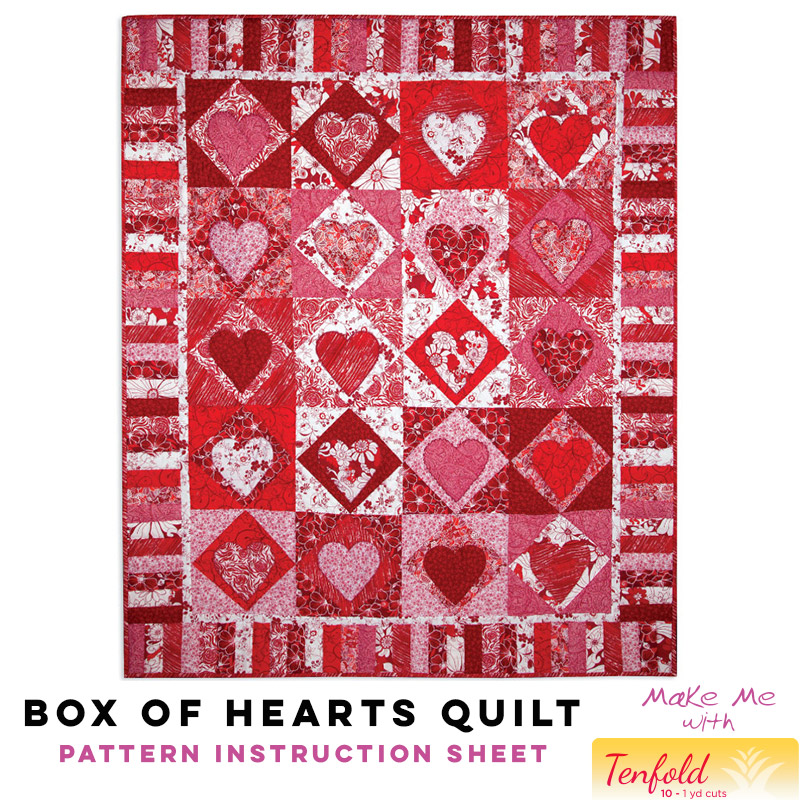 Box Of Hearts Quilt Tenfold Pattern Pineapple Fabrics Enchanting Heart Quilt Pattern