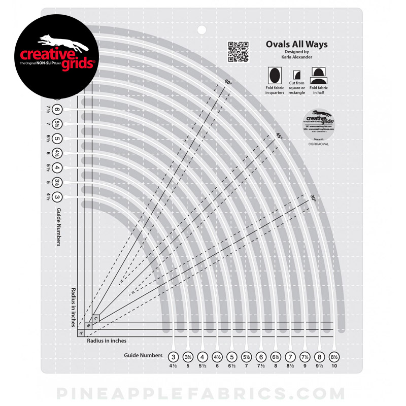 CGRKAOVAL - Creative Grids Ovals All Ways Quilt Ruler