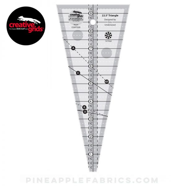 CGRT225 - Creative Grids 22-1/2 Degree Triangle Ruler