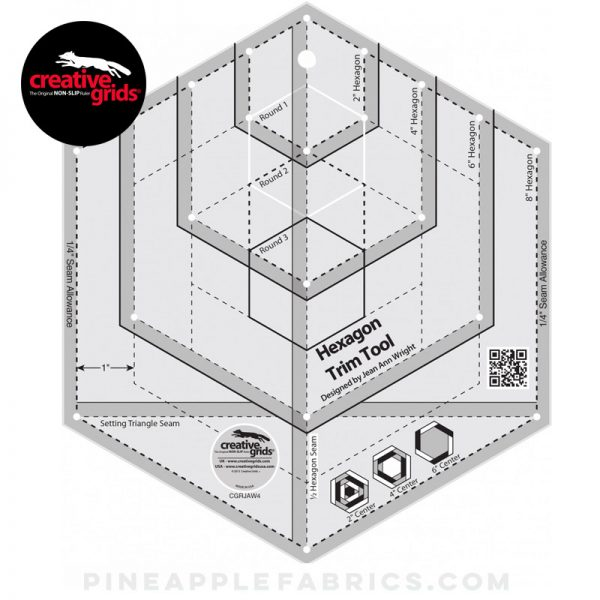 CGRJAW4 - Creative Grids Hexagon Trim Tool Quilt Ruler