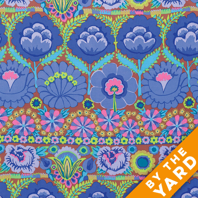 Artisan by Kaffe Fassett  - Embroidered Flower Border - Blue - By the Yard