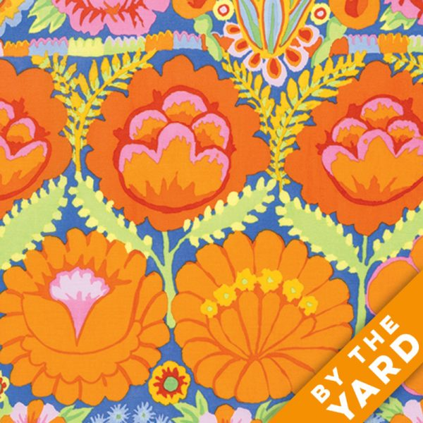 Artisan by Kaffe Fassett  - Embroidered Flower Border - Orange - By the Yard