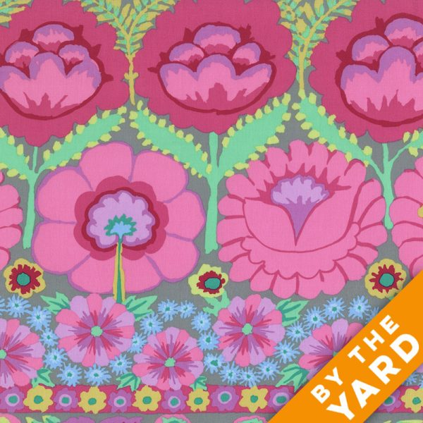Artisan by Kaffe Fassett  - Embroidered Flower Border - Pink - By the Yard