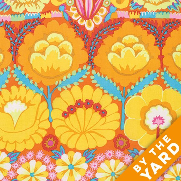 Artisan by Kaffe Fassett  - Embroidered Flower Border - Yellow - By the Yard