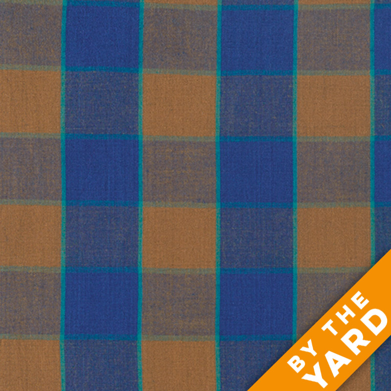 Artisan by Kaffe Fassett - Woven - Checkerboard Plaid Ikat - Blue - By the Yard