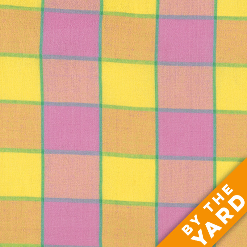 Artisan by Kaffe Fassett - Woven - Checkerboard Plaid Ikat - Pink - By the Yard