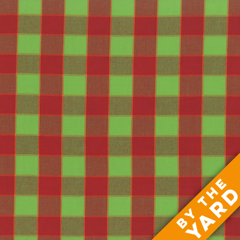 Artisan by Kaffe Fassett - Woven - Checkerboard Plaid Ikat - Red - By the Yard