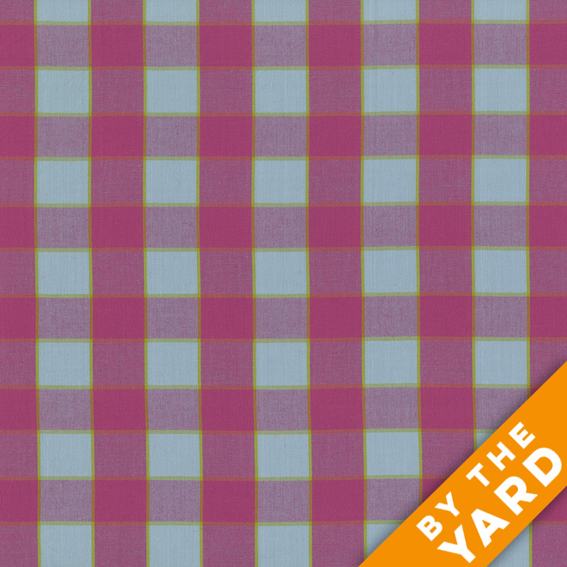 Artisan by Kaffe Fassett - Woven - Checkerboard Plaid Ikat - Sky - By the Yard