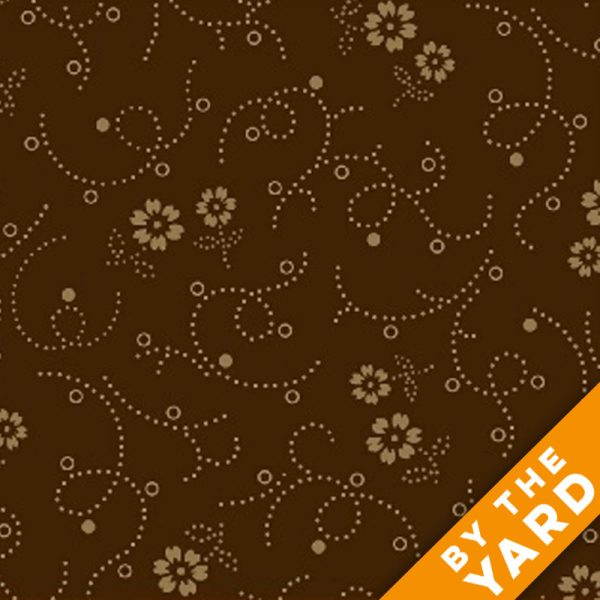 """Windham 108"""" Quilt Back - Tossed Sprigs 39507-2 - Brown"""