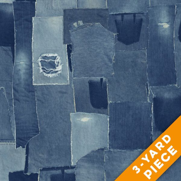 "Windham 108"" Quilt Back - Patch Denim PRECUT 3-YARD PIECE"