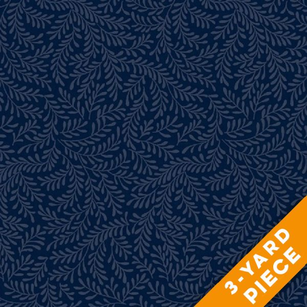 "Windham 108"" Quilt Back Mono Leaf 42463-3-3YD - Navy PRECUT 3-YARD PIECE"