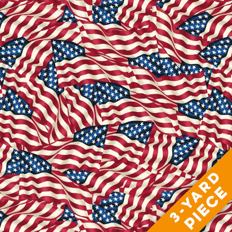 "Windham 108"" Quilt Back - American Flags PRECUT 3-YARD PIECE"