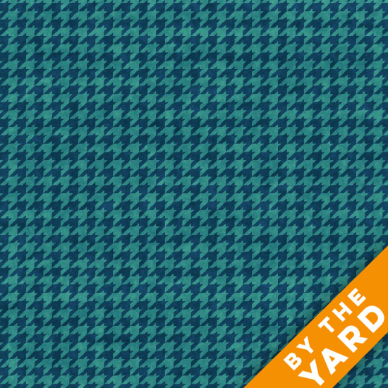 Henry Glass Houndstooth - Turquoise 8624-77 - Fabric By the Yard
