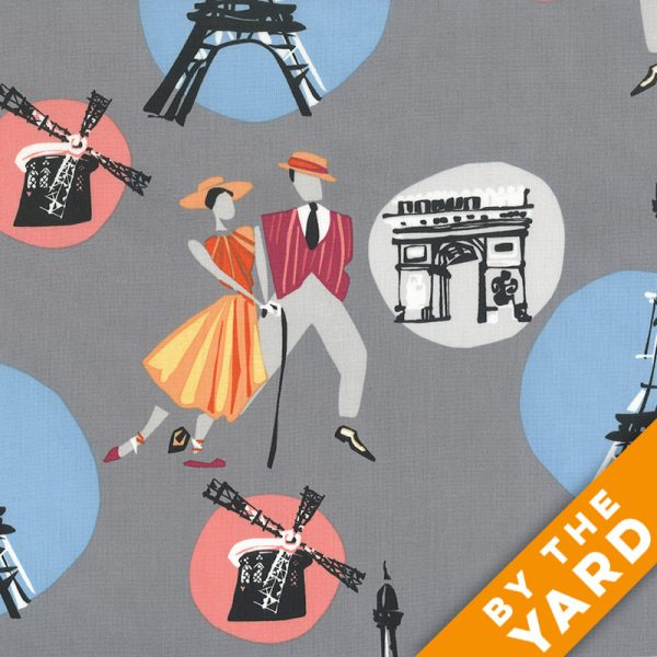 Andover - An American in Paris - 8265 - Gray - Fabric By the Yard