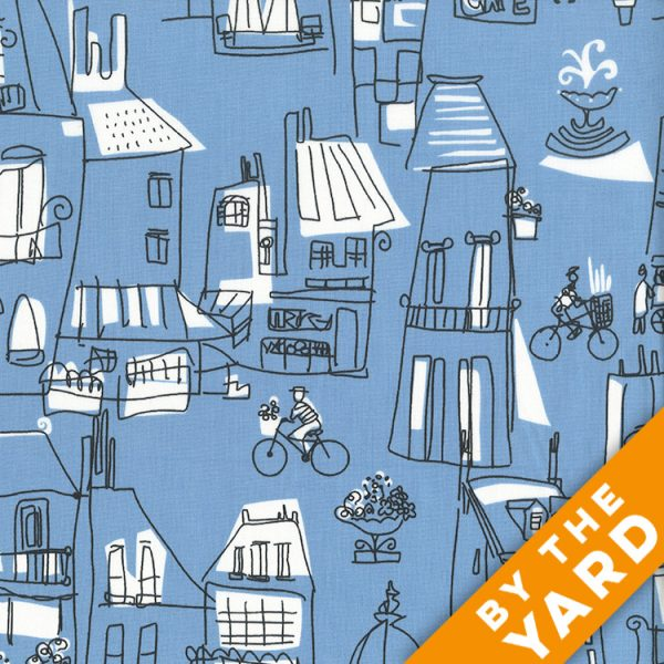 Andover - An American in Paris - 8268 - Blue - Fabric By the Yard