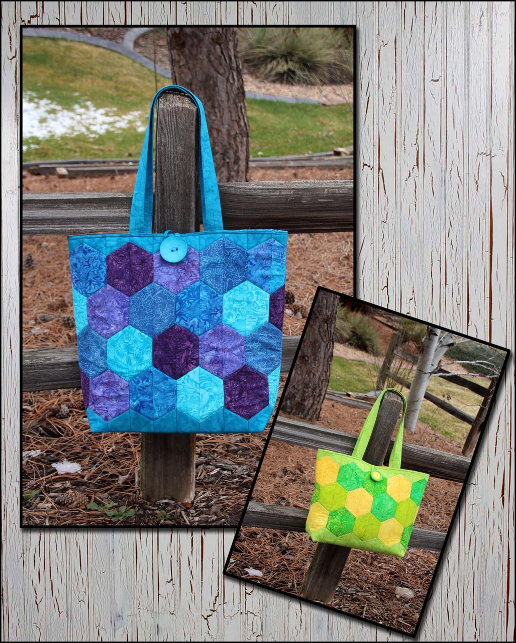 CLPSMA003 - Hexie Tote in Two Sizes Pattern by Cut Loose Press