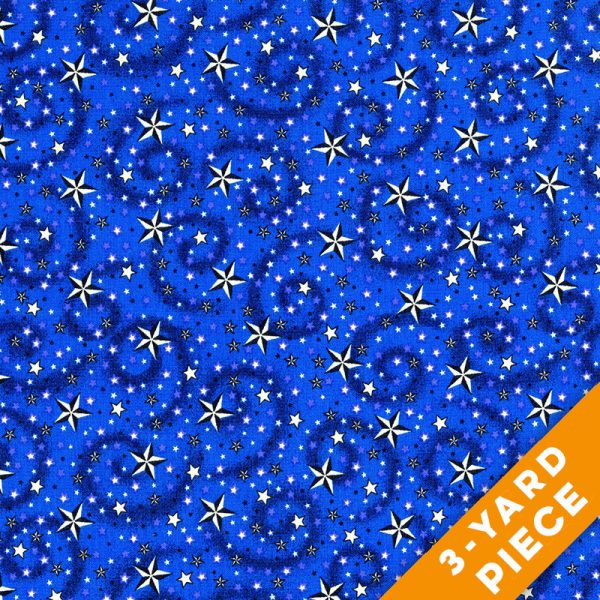 "American Dreams 108"" Quilt Backs 9813-77 -Blue PRECUT 3-YARD PIECE"