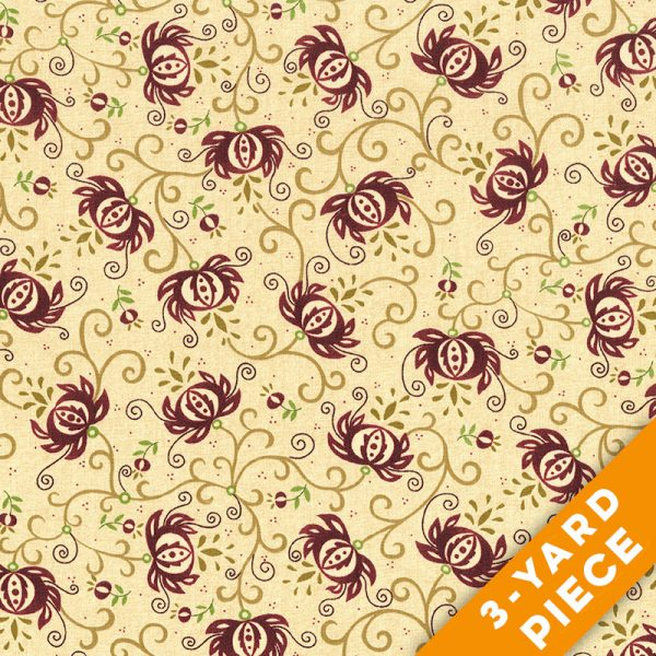 "Spiced Pomegranate by Kim Diehl 108"" Quilt Backs 6631-84 - Pomegranate PRECUT 3-YARD PIECE"
