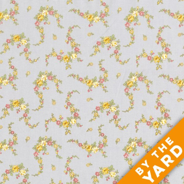 Andover - Little House on the Prairie - Gray Prairie Flowers - 7950-C - Fabric by the Yard