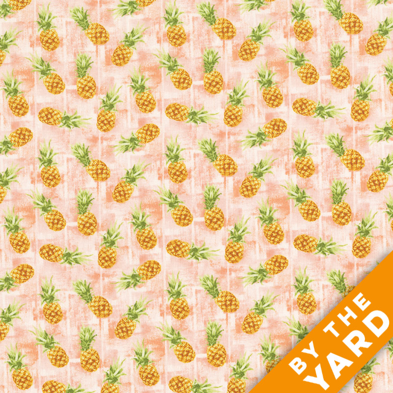Oasis - Isle Print - Pineapples - Fabric by the Yard