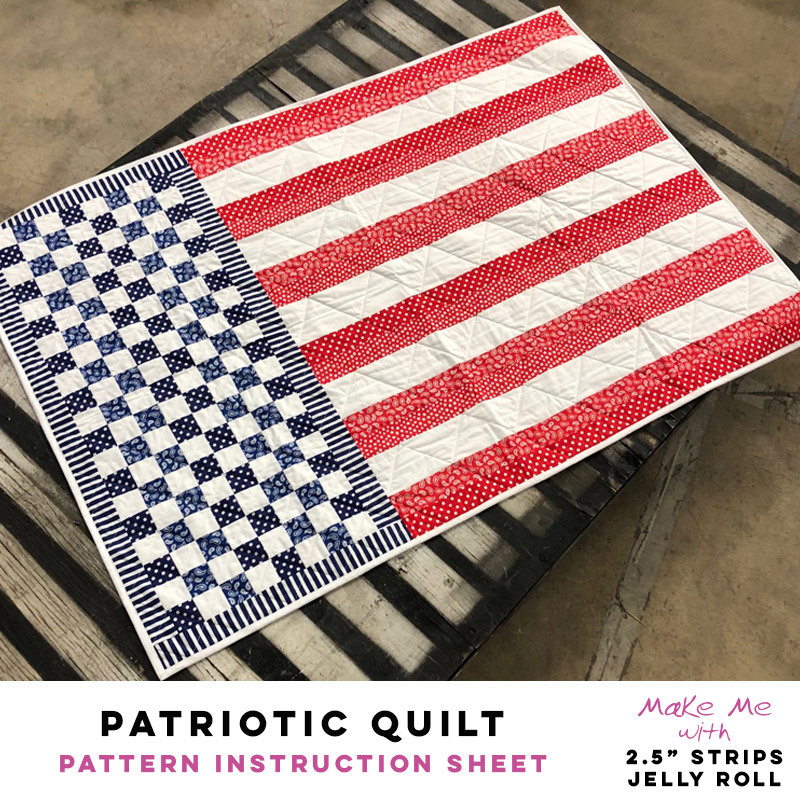 Patriotic Quilt 2 5 Strips Jelly Roll Pattern Pineapple Fabrics