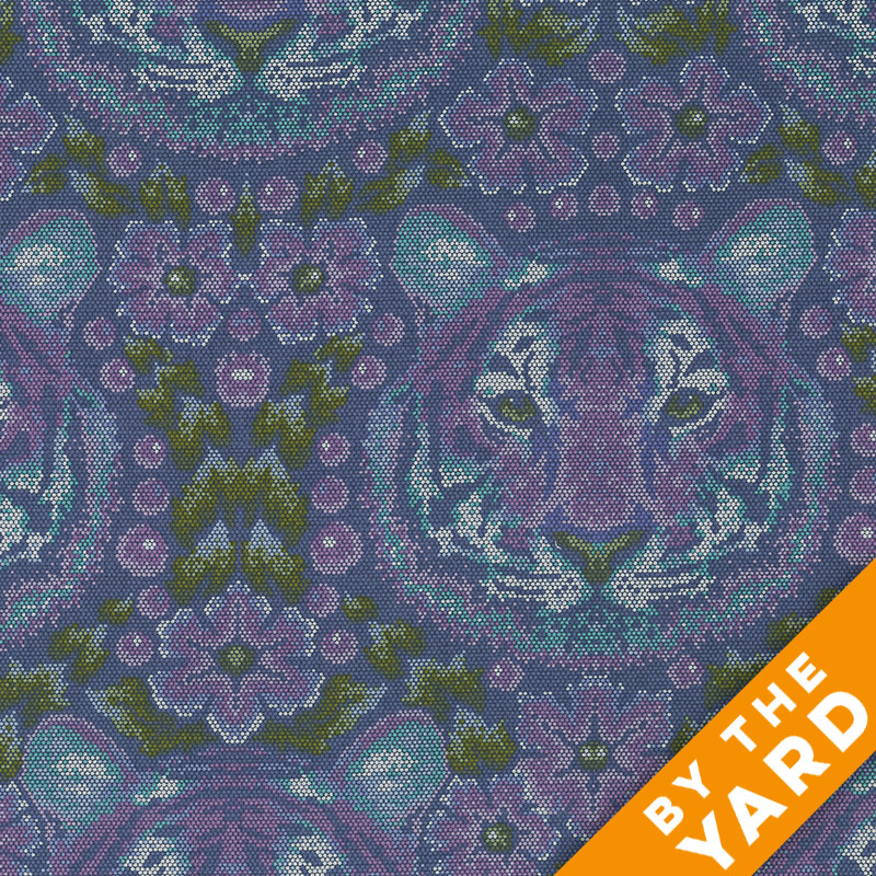 Free Spirit Eden by Tula Pink PWTP077 AMETHYST Crouching Tiger  Cotton Fabric