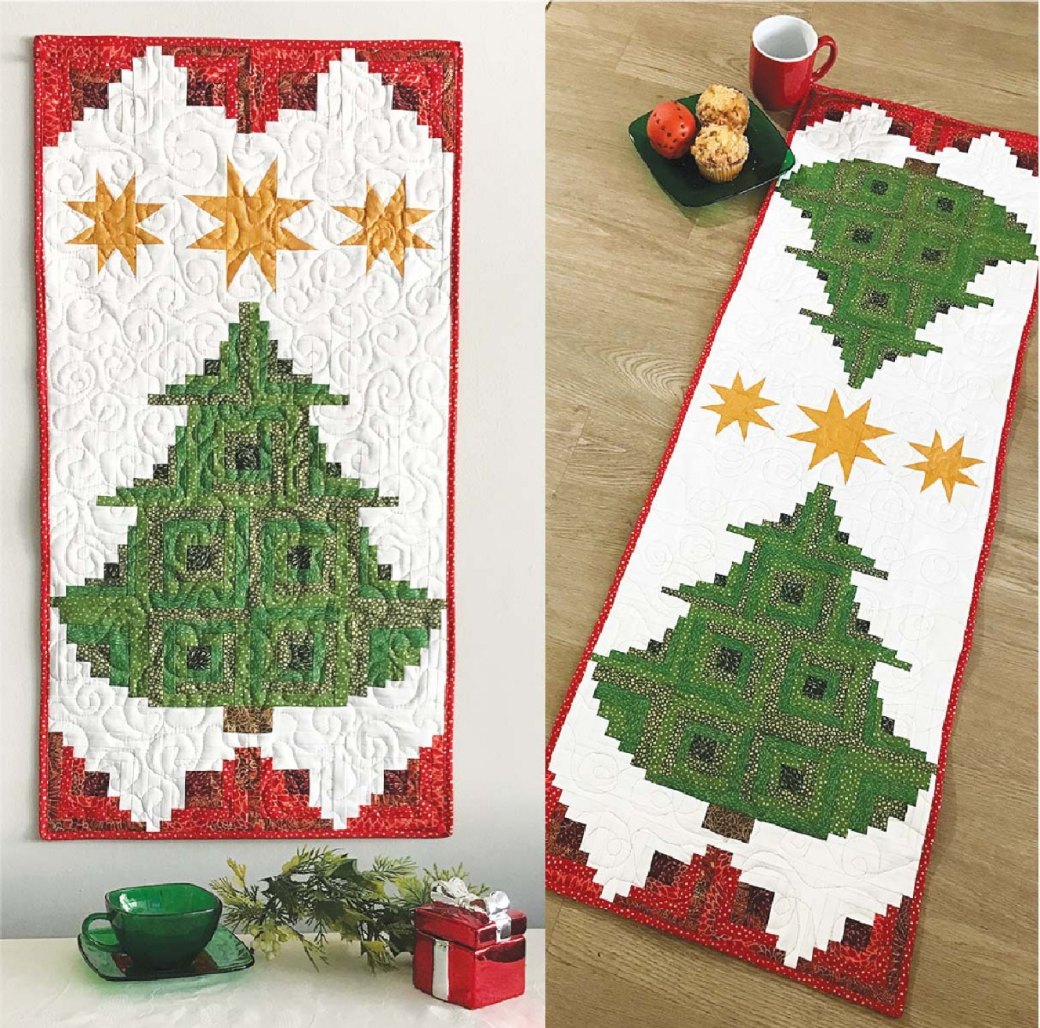 Clpjaw070 Pine Tree Banner Or Table Runner Pattern By