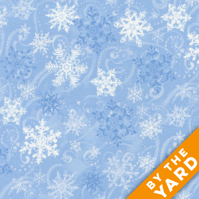 Timeless Treasures - Snowflake & Swirls - Light Blue - Fabric By the Yard