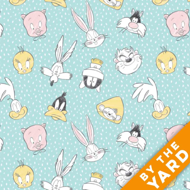 Looney Tunes Little Dreamer Cotton Fabric by the Yard 23600125-2 Lt Blue Characters on Spots Camelot